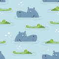 Hippo and crocodile in water seamless pattern.