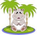 Hippo on island Stock Photo