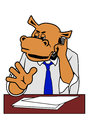 Hippo in office head of the at a desk with a phone his hand Stock Images