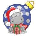 Hippo in a Santa hat Royalty Free Stock Photo
