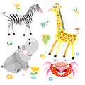 Hippo and zhirf with a zebra Royalty Free Stock Photos