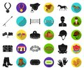 Hippodrome and horse black,flat icons in set collection for design. Horse Racing and Equipment vector symbol stock web Royalty Free Stock Photo