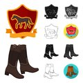 Hippodrome and horse cartoon,black,flat,monochrome,outline icons in set collection for design. Horse Racing and Royalty Free Stock Photo