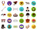 Hippodrome and horse cartoon,flat icons in set collection for design. Horse Racing and Equipment vector symbol stock web Royalty Free Stock Photo