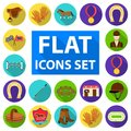 Hippodrome and horse flat icons in set collection for design. Horse Racing and Equipment vector symbol stock web Royalty Free Stock Photo
