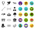 Hippodrome and horse mono,flat icons in set collection for design. Horse Racing and Equipment vector symbol stock web Royalty Free Stock Photo