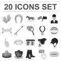 Hippodrome and horse monochrome icons in set collection for design. Horse Racing and Equipment vector symbol stock web Royalty Free Stock Photo