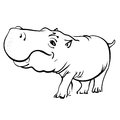 Hippopotamus cartoon isolated on white background fat hippo Stock Photos