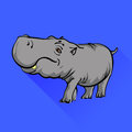 Hippopotamus isolated on blue background long shadow Royalty Free Stock Photos