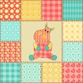 Hippopotamus patchwork pattern vintage seamless cartoon background Royalty Free Stock Photography