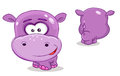 Hippopotamus vector colorful character front and back Stock Images