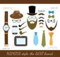 Hipster Accessory Icons Set