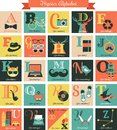 Hipster alphabet concept background with icons letters set Stock Photos
