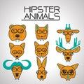 Hipster animal icons set