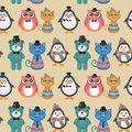 Hipster animals pets seamless background cute fashion vector Stock Photos