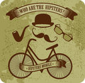 Hipster bike grunge background banner at the top that says who the hipsters the image bicycle hats mustache points attributes Royalty Free Stock Image