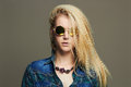 Hipster blond Sexy girl in sunglasses.beautiful young woman Royalty Free Stock Photo