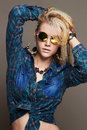 Hipster blond Sexy girl in sunglasses Royalty Free Stock Photo