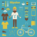 Hipster boy infographic concept background with ic fun icons eps Stock Photo
