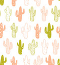 Hipster cactus seamless pattern. Cacti tribal boho background. Fabric print design.