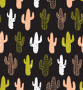 Hipster cactus seamless pattern. Cacti tribal boho background. Fabric print design. Royalty Free Stock Photo