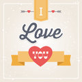 Hipster card i love you typographic for valentines day with hearts arrows and ribbon banner Royalty Free Stock Photo