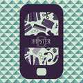 Hipster card mobile phone with clothing and accessories various Stock Photography