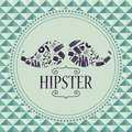 Hipster card mustache with clothing and accessories various Royalty Free Stock Images