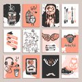Hipster card set paper with sketch fashion accessories isolated vector illustration Stock Photography