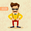 Hipster cartoon character vintage fashion style vector illustration Stock Image