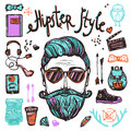 Hipster cartoon sketch concept style person with accessories attribution and symbols color hand drawn vector illustration Stock Images