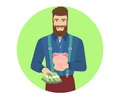 Hipster with cash money holding a piggy bank