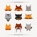 Hipster cat icons set character cats flat Stock Photography
