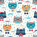 Hipster cat seamless background vector pattern with funny Stock Images