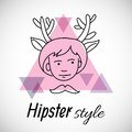Hipster character design boy with horns painted line on a background of triangles labeled style Stock Images