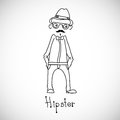 Hipster character design vector illustration man stands alone in a hand drawn line line art Royalty Free Stock Photo