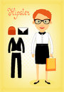 Hipster character elements for business woman with customizable face look and accessory vector illustration Royalty Free Stock Image