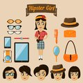 Hipster character elements for nerd woman with customizable face look and clothing vector illustration Royalty Free Stock Photography
