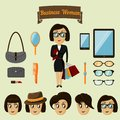 Hipster character pack for business woman with accessory and facial elements vector illustration Royalty Free Stock Photos
