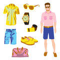 Hipster character pack for geek boy with accessory clothing Royalty Free Stock Photos