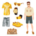 Hipster character pack for geek boy with accessory clothing Stock Photo