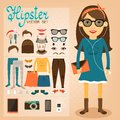 Hipster character pack for geek girl with accessory clothing and facial elements vector illustration Royalty Free Stock Photography