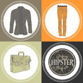 Hipster clothes decorative set cards Royalty Free Stock Photo