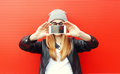 Hipster cool girl taking picture on smartphone self-portrait Royalty Free Stock Photo
