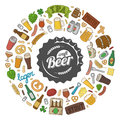 Hipster craft beer doodle poster. Royalty Free Stock Photo