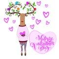 Hipster deer falling in love. vector Illustration
