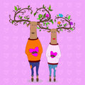 Hipster deers falling in love. valentine s day