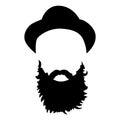 Hipster detailed hair and beards set. Fashion bearded man. Long beard with facial hair. Beard on white