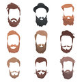 Hipster detailed hair and beards set. Fashion bearded man. Long beard with facial. Vector isolated on white background