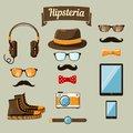 Hipster devices icons set of headphones music player clock and retro camera vector illustration Royalty Free Stock Photo